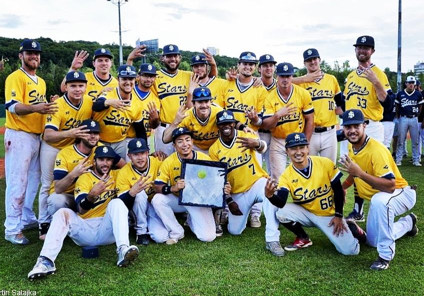 Dylan with the International Stars, 2017 Prague Baseball Week Champions